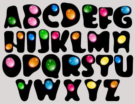 alphabetical letters: Resumen de ABC, el alfabeto negro con gotas de color, hermosa ilustraci�n
