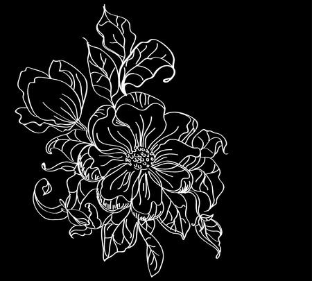filigree: witte bloem over donkere, mooie illustratie