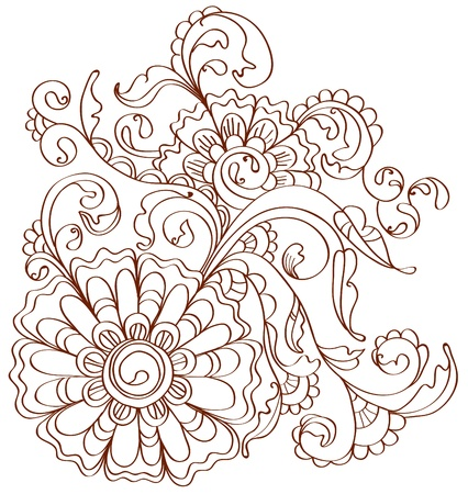 bookmarks: Beautiful floral pattern over white, illustration