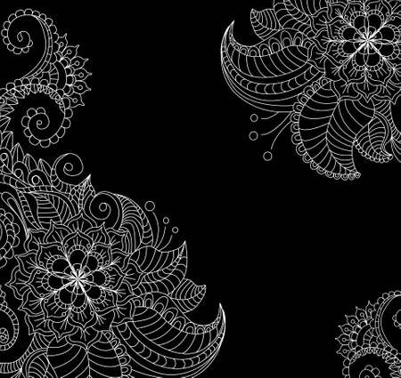 black and white floral pattern, beautiful illustration Vector