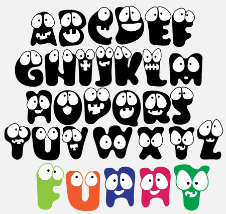 Joyful Cartoon font - from A to Z, funny capital letters Vector