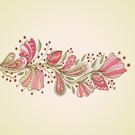 Stylish floral background, hand drawn flowers, illustration Stock Vector - 12437617