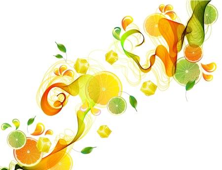 fr�chte in wasser: Orange und Spritzer Limettensaft mit abstrakten Welle, sch�ne Illustration Illustration