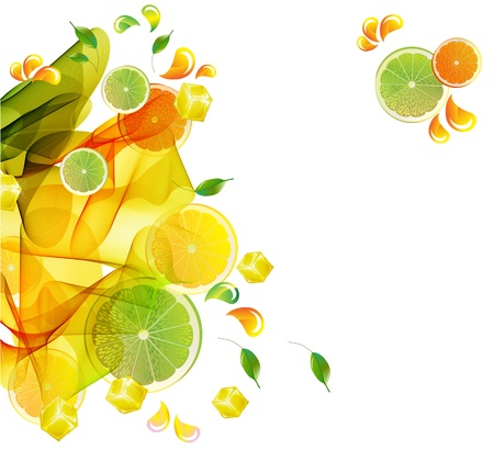 falling cubes: Orange and lime juice colorful splash with abstract wave, illustration