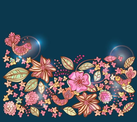 Beautiful colorful floral background with birds, illustration Vector