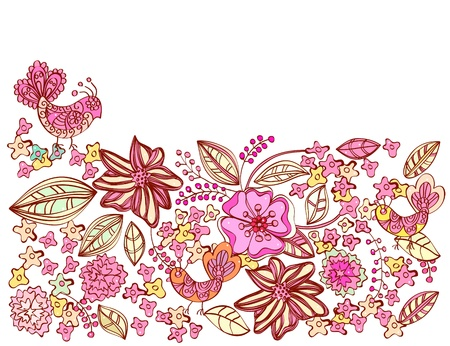 Beautiful pink floral background with birds, illustration Stock Vector - 12496187