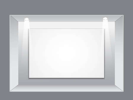 Gallery Interior with empty frame and light on wall, illustration Vector