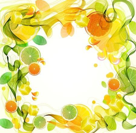 citricos: Orange y salpicaduras de jugo de lim�n con la onda abstracta, hermosa ilustraci�n