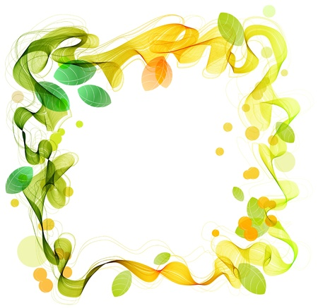 Green and yellow abstract wave with leaf, beautiful illustration Vector