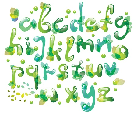 Abstract ABC,green alphabet with leaves, illustration Vector