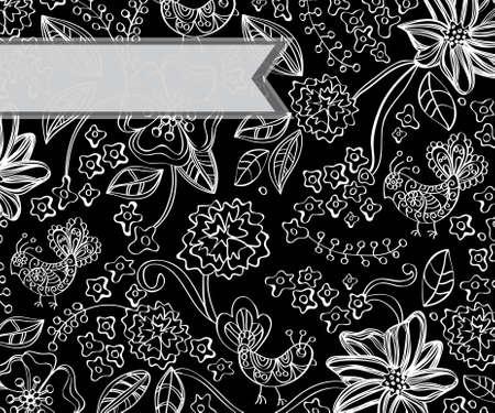 Beautiful dark floral background, illustration Stock Vector - 12496208
