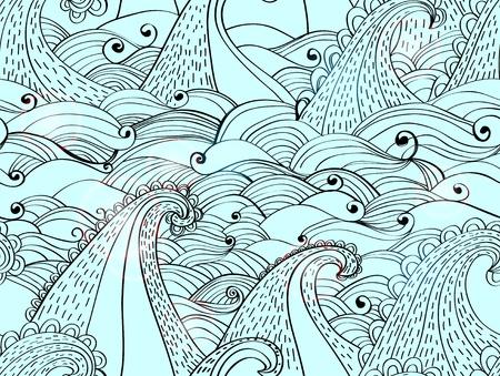 seamless avec des vagues, belle illustration bleu