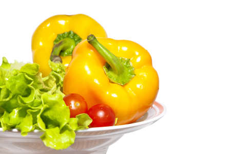 tomato cherry: sweet pepper, tomato cherry and salad over white Stock Photo