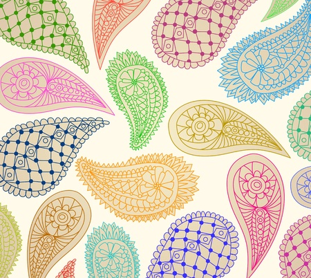 colorful paisley pattern, illustration Vector