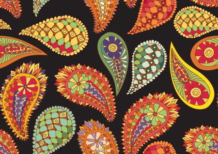 seamless paisley pattern,colorful illustration Vector