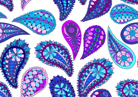 seamless blue paisley pattern, illustration Vector