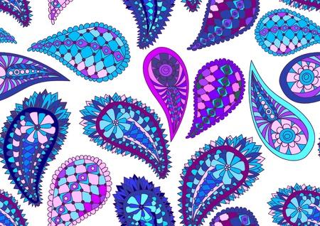 seamless blue paisley pattern, illustration Vector