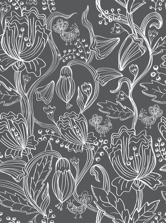 seamless pattern with flowers and birds, gray illustration