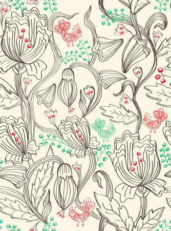 seamless pattern with flowers and birds, beautiful illustration Vector