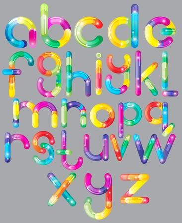 alphabetical letters: Fuente alegre colorido de dibujos animados - letra de la A a la Z, ilustraci�n brillante Vectores