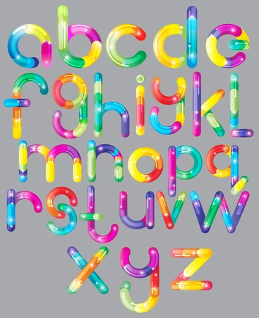 Joyful colorful Cartoon font - letter from A to Z, bright illustration