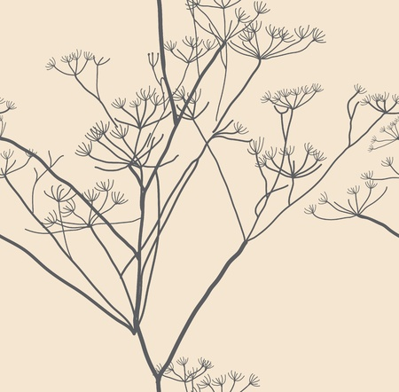 seamless natural background, plant illustration Vector
