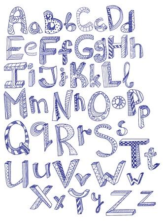 alphabetical letters: alfabeto dibujado a mano, ilustraci�n Vectores
