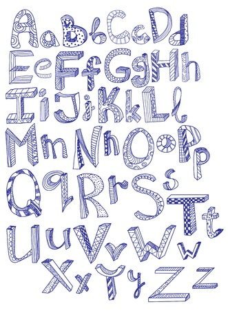 hand drawn alphabet, illustration Vector