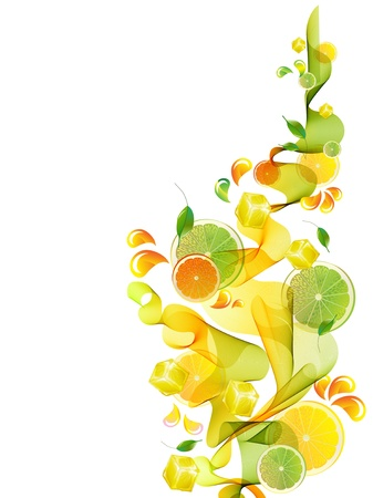 Orange and lime juice splash with abstract wave, background illustration