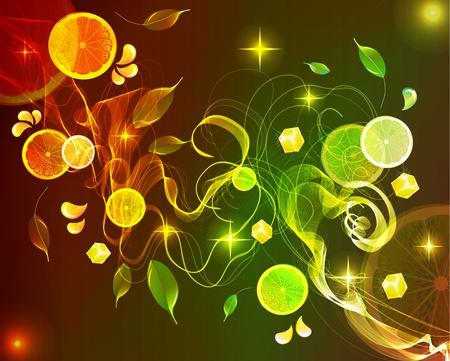 soda splash: Orange and lime juice splash with abstract wave, background illustration