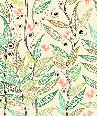 seamless natural background with fern and bird, plant illustration Vector