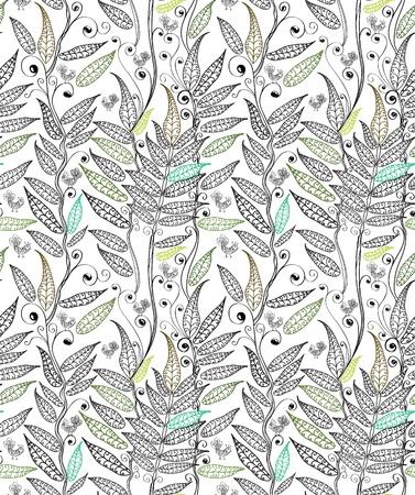 helechos: de fondo sin fisuras naturales con la ilustración de helecho y de aves,