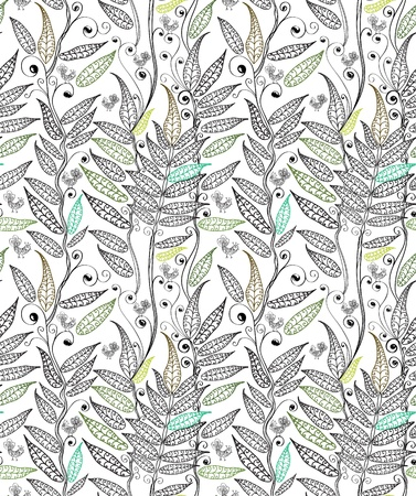 ferns: seamless natural background with fern and bird, plant illustration