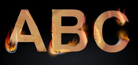 abc letters: Burning ABC letters over dark, illustration Illustration