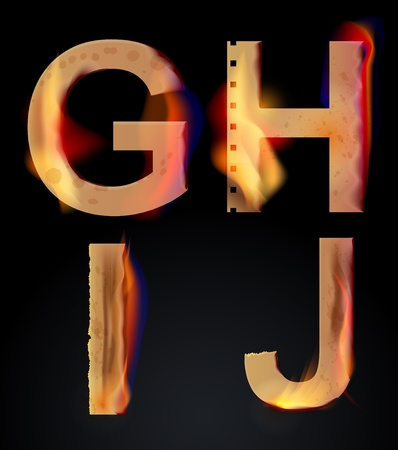 Burning GHIJ letters over dark,alphabet, illustration Vector