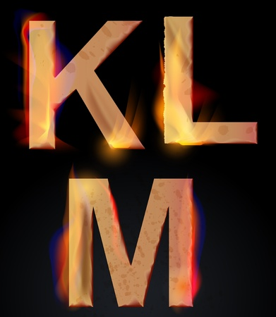 Burning KLM letters over dark,alphabet, illustration Vector