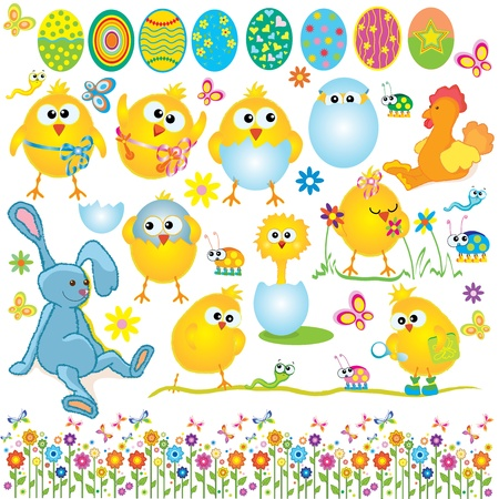 Easter set, cute chickens, rabbit, cock, egg and floral elements illustration Vector
