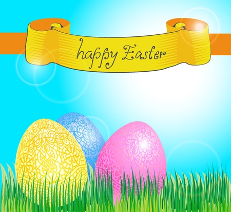 Easter card with eggs and banner, illustration