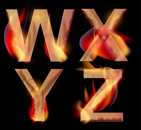 Burning WXYZ letters over dark,alphabet illustration Vector