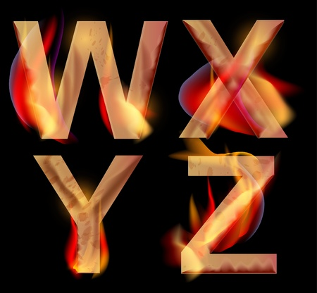 letter x: Burning WXYZ letters over dark,alphabet illustration Illustration