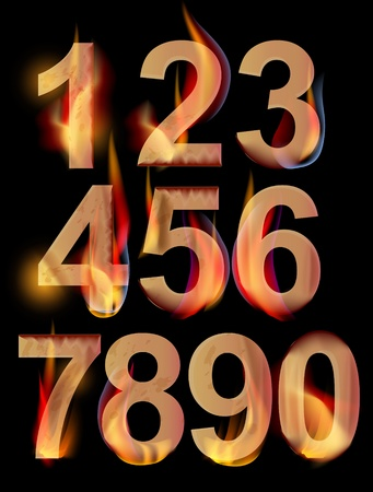Burning numbers from 0 to 9 over dark, illustration Vector