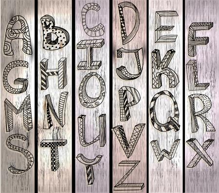 alphabetical letters: ABC, dibujado a mano alfabeto sobre la textura de madera, hermosa ilustraci�n Vectores