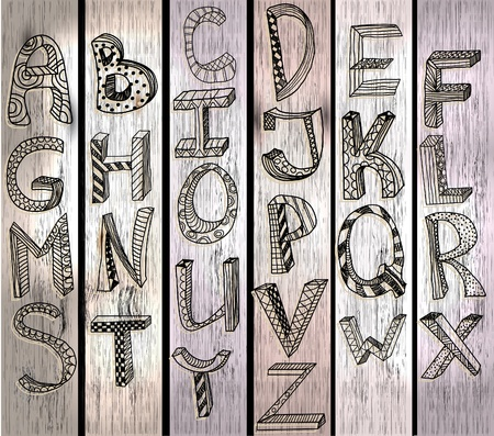 ABC, hand drawn alphabet over wood texture, beautiful illustration Illustration