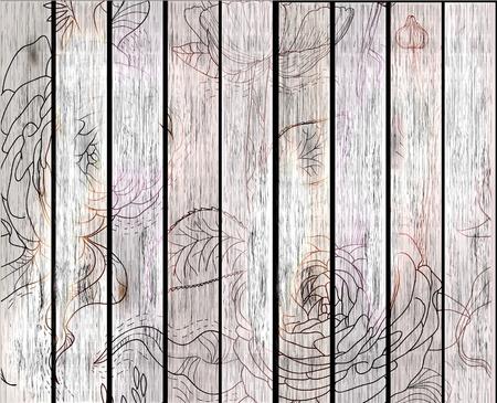 planche de bois: bois texture de fond avec des fleurs, illustration Illustration