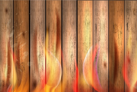laminate flooring: wood texture background in fire, illustration