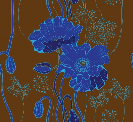seamless natural background with blue poppies, plant illustration Vector