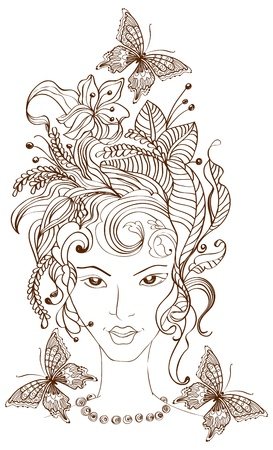 nymph: Hand Drawn Beautiful woman with flowers in hair and butterflies, beautiful illustration