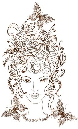 Hand Drawn Belle femme avec des fleurs dans les cheveux et les papillons, belle illustration
