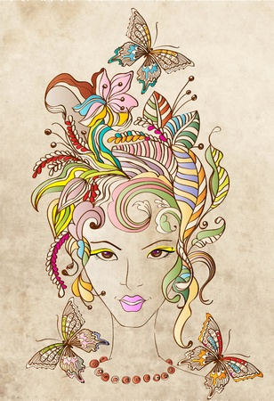 natural face: Hand Drawn Beautiful woman with flowers in hair and butterflies, beautiful colorful illustration Illustration