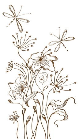 Hand Drawn floral background, beautiful  illustration